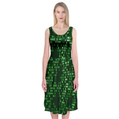 Abstract Plaid Green Midi Sleeveless Dress