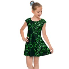 Abstract Plaid Green Kids  Cap Sleeve Dress