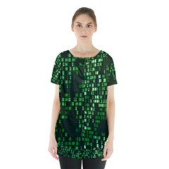 Abstract Plaid Green Skirt Hem Sports Top