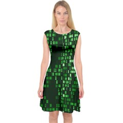 Abstract Plaid Green Capsleeve Midi Dress