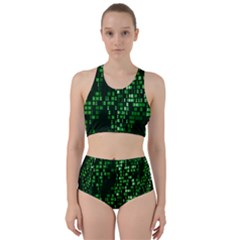 Abstract Plaid Green Racer Back Bikini Set