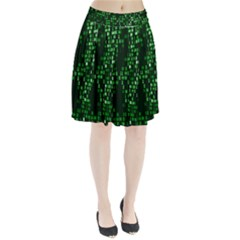 Abstract Plaid Green Pleated Skirt