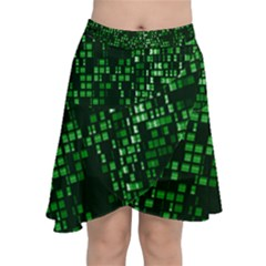 Abstract Plaid Green Chiffon Wrap Front Skirt