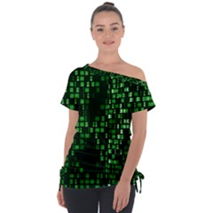 Abstract Plaid Green Tie Up Tee