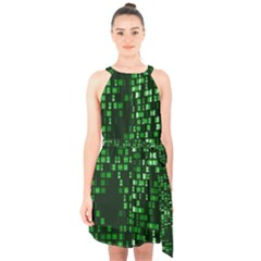 Abstract Plaid Green Halter Collar Waist Tie Chiffon Dress