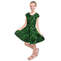 Abstract Plaid Green Kids  Short Sleeve Dress