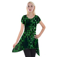 Abstract Plaid Green Short Sleeve Side Drop Tunic