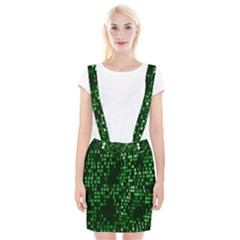Abstract Plaid Green Braces Suspender Skirt