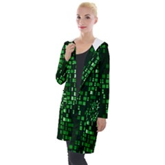 Abstract Plaid Green Hooded Pocket Cardigan