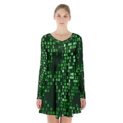 Abstract Plaid Green Long Sleeve Velvet V Neck Dress
