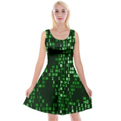 Abstract Plaid Green Reversible Velvet Sleeveless Dress