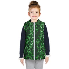 Abstract Plaid Green Kids  Hooded Puffer Vest