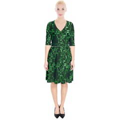 Abstract Plaid Green Wrap Up Cocktail Dress