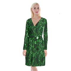 Abstract Plaid Green Long Sleeve Velvet Front Wrap Dress