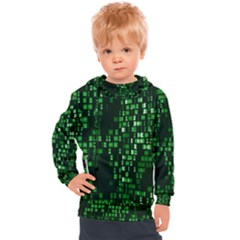 Abstract Plaid Green Kids  Hooded Pullover
