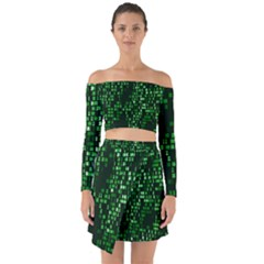 Abstract Plaid Green Off Shoulder Top With Skirt Set