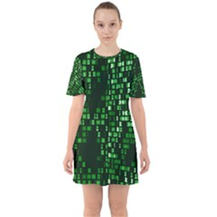 Abstract Plaid Green Sixties Short Sleeve Mini Dress