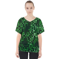 Abstract Plaid Green V Neck Dolman Drape Top