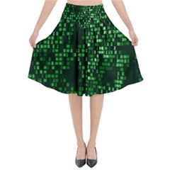 Abstract Plaid Green Flared Midi Skirt