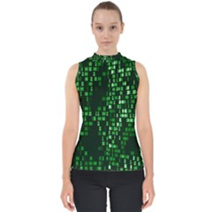 Abstract Plaid Green Mock Neck Shell Top