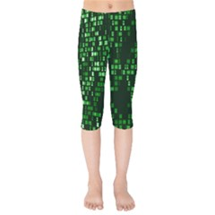 Abstract Plaid Green Kids  Capri Leggings  by HermanTelo