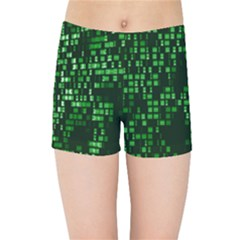 Abstract Plaid Green Kids  Sports Shorts by HermanTelo