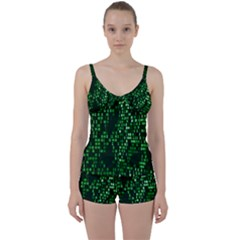 Abstract Plaid Green Tie Front Two Piece Tankini