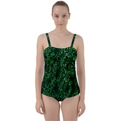 Abstract Plaid Green Twist Front Tankini Set