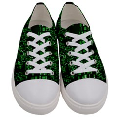 Abstract Plaid Green Women s Low Top Canvas Sneakers