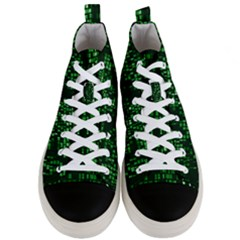 Abstract Plaid Green Men s Mid Top Canvas Sneakers