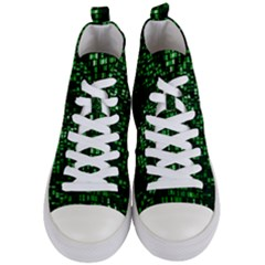 Abstract Plaid Green Women s Mid Top Canvas Sneakers