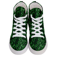 Abstract Plaid Green Women s Hi Top Skate Sneakers