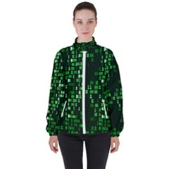 Abstract Plaid Green Women s High Neck Windbreaker