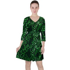 Abstract Plaid Green Ruffle Dress