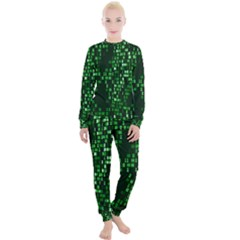 Abstract Plaid Green Women s Lounge Set