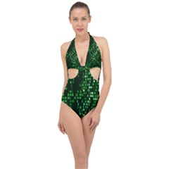 Abstract Plaid Green Halter Front Plunge Swimsuit