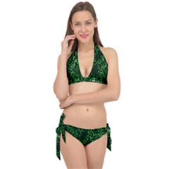Abstract Plaid Green Tie It Up Bikini Set