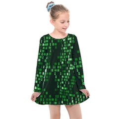 Abstract Plaid Green Kids  Long Sleeve Dress