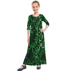Abstract Plaid Green Kids  Quarter Sleeve Maxi Dress