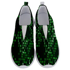 Abstract Plaid Green No Lace Lightweight Shoes