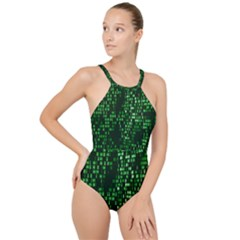 Abstract Plaid Green High Neck One Piece Swimsuit