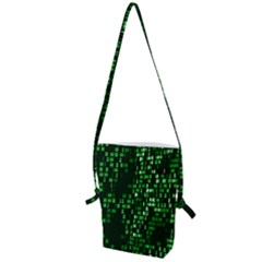 Abstract Plaid Green Folding Shoulder Bag