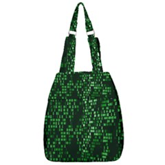Abstract Plaid Green Center Zip Backpack