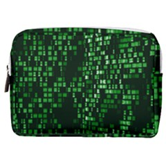 Abstract Plaid Green Make Up Pouch (medium)
