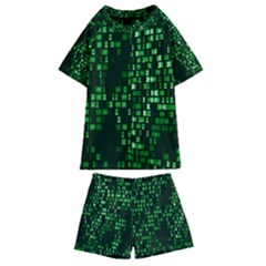 Abstract Plaid Green Kids  Swim Tee And Shorts Set