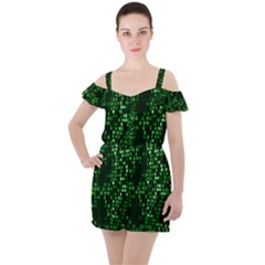 Abstract Plaid Green Ruffle Cut Out Chiffon Playsuit