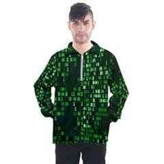 Abstract Plaid Green Men s Half Zip Pullover