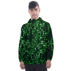 Abstract Plaid Green Men s Front Pocket Pullover Windbreaker