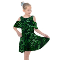 Abstract Plaid Green Kids  Shoulder Cutout Chiffon Dress