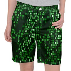 Abstract Plaid Green Pocket Shorts